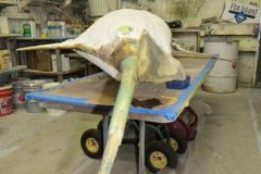 Structural fiberglass work and sanding to prepare the marlin sign...in progress.