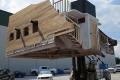 """Built onboard in the yard, but not attached...the Deck House was removed and brought to the """"Good Fortune"""" in her slip, via forklift. There was no way to fit the assembled vessel into the lift crane with the deck house attached."""