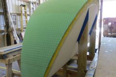A 'reticulated foam skin, was next applied to the surface for further accuracy in the mould's final surface.