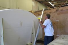 A spherical wedge of Styrene Foam has been created as the foundation for the master mould. Many steps remain to 'fair' and develop the foam core of the mould to the designer's critical specs.
